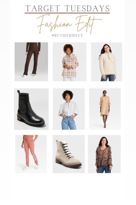 Target Tuesdays fashion edit🙌🏾🙌🏾  For fashion target Booties Joggers sweaters sweatshirts sweater dress combat boots blouses   #LTKunder50 #LTKstyletip #LTKSeasonal