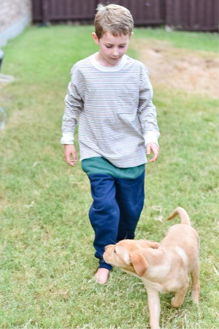 Walmart Free Assembly Boys Boys long sleeve striped t-shirt // Boys color broadly joggers    Walmart Fashion Walmart Kids Kids Fall Outfits  #sponsored #walmartfashion #freeassembly  #LTKfamily #LTKkids #LTKstyletip