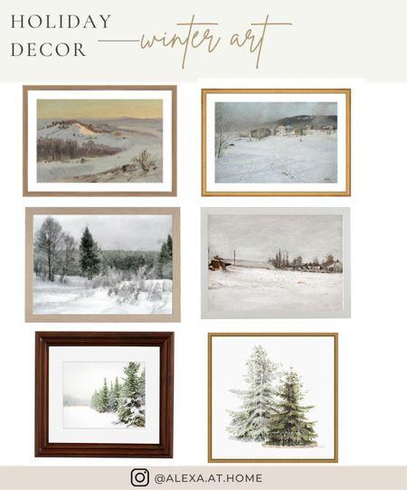 Holiday decor - winter art   Holiday art , winter art , vintage art , vintage winter art, winter art scene, framed vintage art , Christmas art , Christmas decor