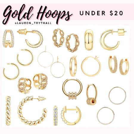 Gold Hoops Under $20! Super cute earrings and affordable. Can dress up any outfit and they are the perfect accessory. Lots of these are Amazon finds!   #LTKunder50 #LTKstyletip #LTKSeasonal