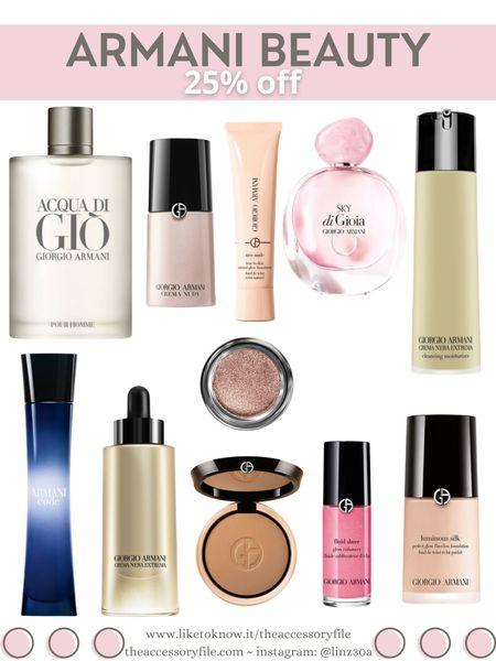 25% Armani Beauty     http://liketk.it/3hR2V       @liketoknow.it #liketkit #LTKDay #LTKbeauty #LTKsalealert men's cologne, women's perfume, Armani code, acqua di gio