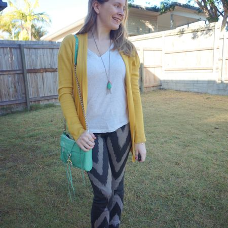 Bright and colourful! I love the aqua pops against the mustard cardigan and while I worried the spotty texture on the tee wouldn't work with the chevron print Sass and Bide jeans it was so subtle it paired nicely. I'm glad I gave this a go! Comfortable and colourful for working from home with a late lunch to watch my son's sports at school. I was really easy to spot on the sidelines as I surprised him by being there - he saw me instantly! 😅  --------------- ----------------- ------------------------  -------------- ------------- -----------------------  Screenshot this pic to shop the product details from the @liketoknow.it app, or click here: http://liketk.it/3o35J #liketkit #LTKaustralia #LTKitbag #rebeccaMinkoff #jeansandtee #workfromhomestyle #springstyle #everythingLooksBetterWithABag #everydaystyle #realeverydaystyle #wearedonthestreet #realmumstyle #nevervainalwayscolour #mumlife