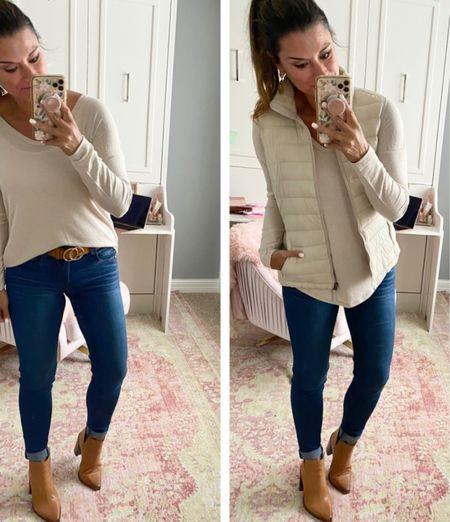 Casual fall outfit - Everything is true to size. Wearing a small in the top and vest. Wearing a 4 in the jeans. #justpostedblog  Fall Women's style Vest  Amazon  Old Navy   #LTKunder100 #LTKunder50 #LTKSeasonal
