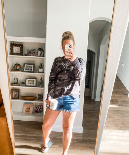 Happy fall y'all! Loving this look for cooler days! Walmart lightweight sweatshirt is my new fav and these shorts are Amazon and so good!    #LTKunder50 #LTKstyletip #LTKSeasonal