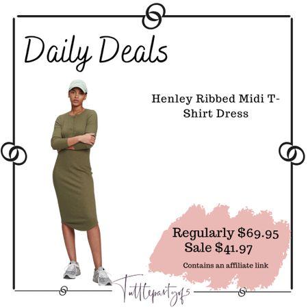 Henley Ribbed Midi T-Shirt Dress    #LTKsalealert #LTKSeasonal #LTKunder50