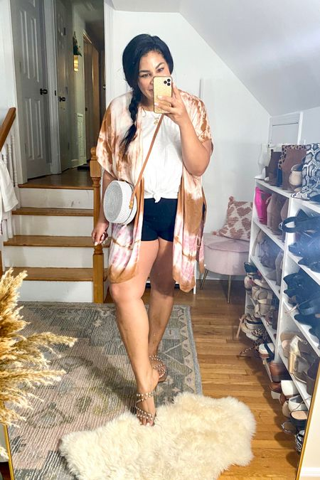 East summer outfit from evereve! #liketkit http://liketk.it/3gR0O     @liketoknow.it #LTKunder50 #LTKunder100 #LTKcurves   Tank: XXL Shorts: L Wrap: one size  Sandals: TTS  neutral loungewear, sweatshirt, summer outfit, mid size, midsize, size 12, size 14, z supply, airport outfit, pool outfit, blanknyc, retro jacket, linen