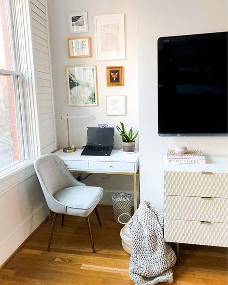 Home office, gallery wall, artwork, cozy corner, bedroom office space, office desk, office chair, swivel chair, finding beauty mom home http://liketk.it/354sK #liketkit @liketoknow.it #StayHomeWithLTK #LTKhome