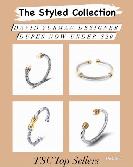The styled collection David Yurman designer dupes now $20 and under - I wear mine all the time and they are great quality! They make great gifts too!   Jewelry  Bracelet  Gifts for her Gift ideas  David Yurman Dupes  Designer Dupes Gold jewelry  Bangles  Coin necklace  Bangles  Bracelet stack    #LTKunder50 #LTKsalealert #LTKstyletip #ltkday  http://liketk.it/3hxeU #liketkit @liketoknow.it