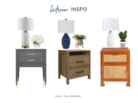 Check out these nightstand styling options for your bedroom.  Nightstands, table lamps, faux plants, bedroom decor, bedroom furniture, home decor, affordable decor     #LTKhome