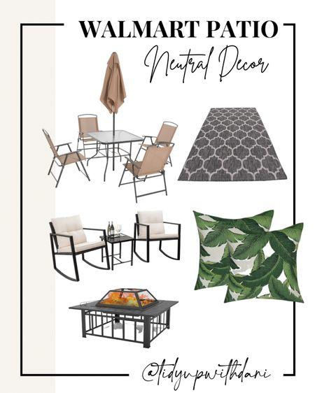 Walmart patio decor. Outdoor decor on a budget. Budget friendly patio decor. Neutral outdoor patio decor. Spring patio decor. Neutral patio set. Cheap patio set. Walmart patio set.   #LTKhome #LTKSeasonal #LTKswim