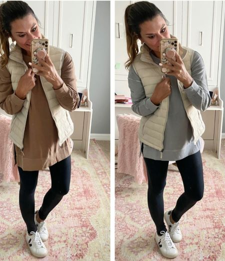 How to style a tunic - size down in the tunic. Wearing XS. Everything else is true to size. Wearing a small in the vest and leggings. #justpostedblog  Old Navy Amazon  Tunic Vest  Fall style   #LTKunder50 #LTKstyletip #LTKSeasonal