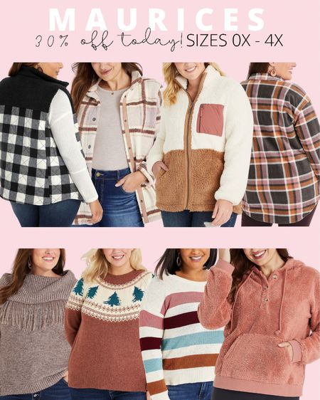 Everything is 30% off at Maurices today! They make some of my favorite plus size fall jackets, sweaters, and vests! If you're looking for plus size fall outfit ideas, they have so many great pieces for layering.   #LTKcurves #LTKsalealert #LTKSeasonal