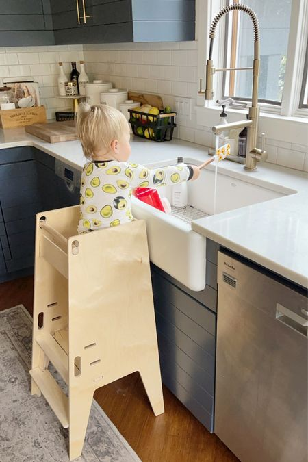 """T O D D L E R \ Ford's new fave things to do! """"Clean"""" the dishes on his tower😂  #toddler #kids #kitchen #kitchensink   #LTKhome #LTKkids"""