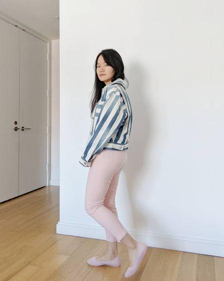 denim jacket, pink pants, and sustainable shoes. Super comfy pink flats!  #LTKstyletip #LTKunder100 #LTKshoecrush