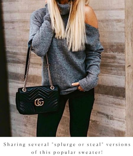 Save or Splurge on this open shoulder sweater, fall outfit idea, Fall sweater, Gucci Bag  #LTKunder100 #LTKSeasonal #LTKitbag