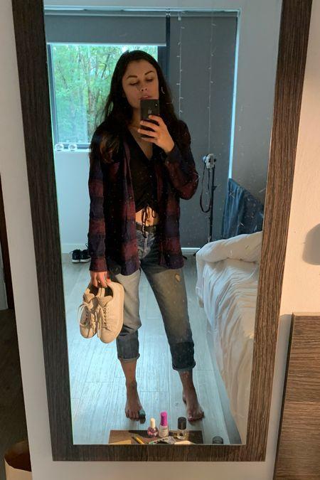 fall time :) black crop top with worn high waisted boyfriend jeans, layered dark red flannel and white adidas sneakers   #LTKshoecrush #LTKstyletip #LTKSeasonal
