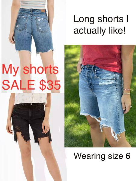 Long mom shorts I actually like on sale $35. Wearing size 6 http://liketk.it/3gxyN #liketkit @liketoknow.it #LTKsalealert #LTKunder50  Jean shorts