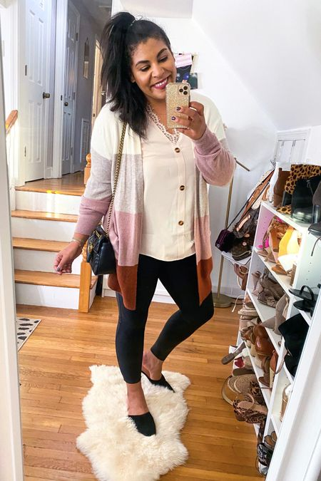 colorblock cardigan sweater with leather Spanx & mules is the perfect fall outfit! Shoes are 54% off! #liketkit http://liketk.it/2Yn3B @liketoknow.it #amazon #amazonfinds #amazonfashion #spanx #spanxleggings #ltkcurves  #LTKFall #LTKunder50 #LTKsalealert