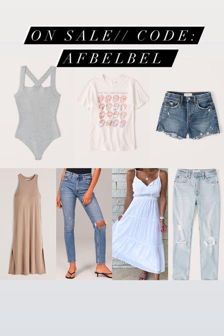 Denim shorts jeans on sale white dress on sale code AFBELBEL   #LTKunder100 #LTKsalealert #LTKunder50