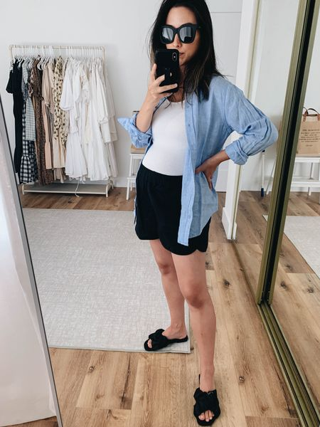 Maternity outfit inspiration. How to style a button up. Amazon favorites.   Shirt - Everlane 2 Tank - Michael Stars small Shorts - Madewell small Sandals - Amazon 5 Sunglasses - Quay   #LTKbump #LTKunder100 #LTKunder50