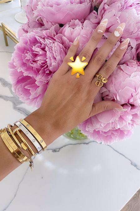 http://liketk.it/3hakX #liketkit @liketoknow.it jewelry, Emily Ann Gemma, rings, bracelets, Dior, Nordstrom, Cartier, Cartier dupes, gold jewelry