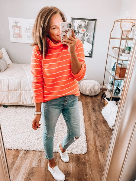 J.Crew Factory fab finds!! Loving this pullover with the cute jeans from Pink Lily Boutique. Vans for the win 🙌🏼❤️  Fall Outfit, everyday outfit, white sneakers, casual outfit, weekend outfit, fashion over 40, sale  #LTKGiftGuide #LTKunder50 #LTKsalealert