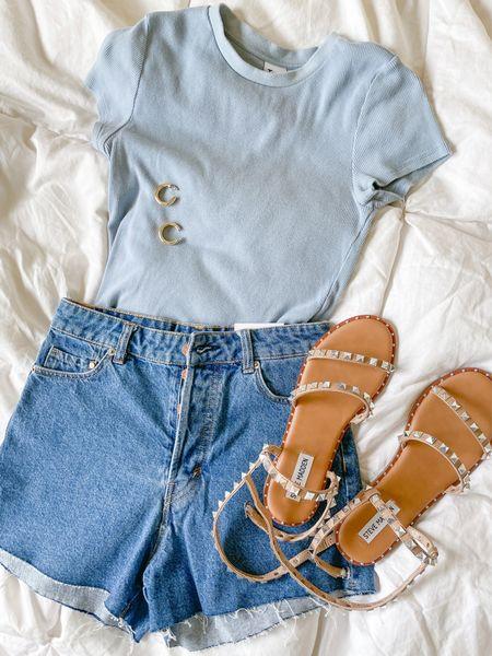 Casual spring and summer outfit idea ✨   #denimshorts #travelsandal #amazonjewelry   #LTKunder50 #LTKSeasonal #LTKunder100