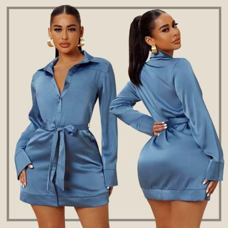 Solid satin belted dress  #LTKunder50 #LTKstyletip