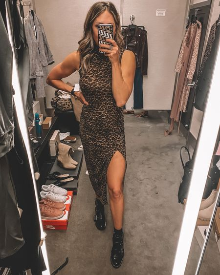 THE BEST DRESS from the #NSALE. This leopard body con can be worn sooo many ways. I love it paired here with my best selling waterproof combat boots—part of the sale as well. Dress runs TTS, slightly big. Wearing a size 0. - still in stock   #LTKsalealert #LTKstyletip #LTKunder100