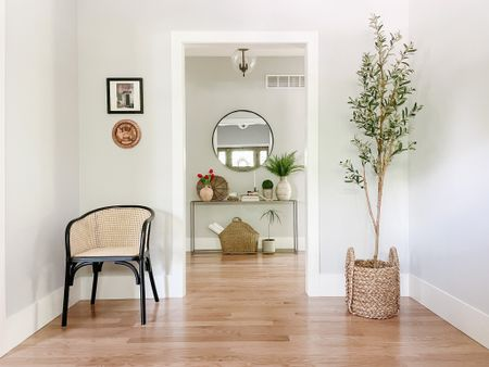 accent chair, dining chair, foyer decor, foyer inspo, faux plant, olive tree, storage basket, console table, mirror  #LTKhome #LTKfamily