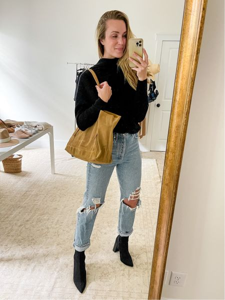 My favorite pair of distressed denim. These run a little large, so size down if between sizes. Boots are old Steve Madden—similar pair I own and love linked (TTS). Sweater runs TTS and comes in more colors. Tote is very slouchy.