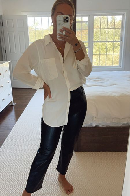 Workwear look with white button down and leather pants, Abercrombie fall outfits   #LTKunder50 #LTKSale #LTKstyletip