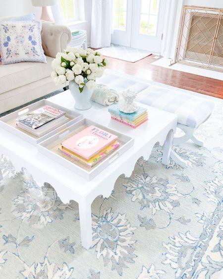 http://liketk.it/3jj7V #liketkit @liketoknow.it  Scallops / scalloped table / coffee table / coffee table book/ blue / ginger jar / peony / peonies / rug / grandmillennial  / southern style #LTKhome @liketoknow.it.home