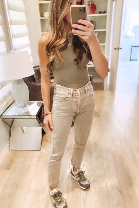 Weekend casual fall transition #ootd. Loving these @citizensofhunanity jeans. Great neutral color. Paired it with an olive green ribbed bodysuit and new balance sneakers for running errands today   #LTKunder100 #LTKshoecrush #LTKstyletip