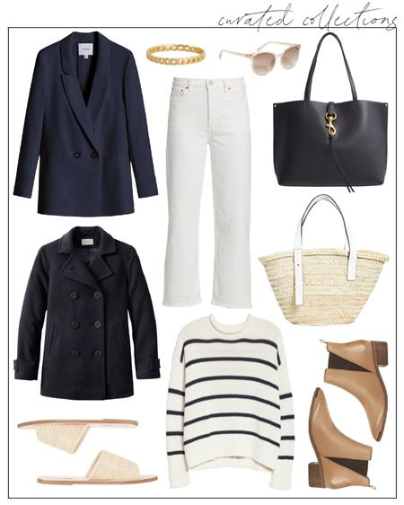 Love this classic striped sweater from La Ligne! Sharing two ways to style it with white jeans for cool summer evenings now into fall in a few weeks.  For summer ☀️ with sandals, straw tote, and linen blazer.  Into fall 🍂 with booties, a leather tote, and a double-breasted peacoat   striped sweater, transitional outfits, summer to fall outfits, fall outfits women, womens fall outfits