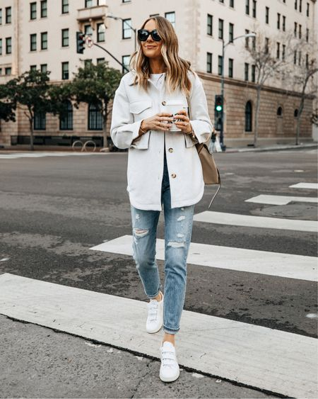 My beige shacket is back in stock! Wearing an XS is perfect for fall! #falloutfits #shacket #sneakers   #LTKstyletip #LTKunder100 #LTKunder50