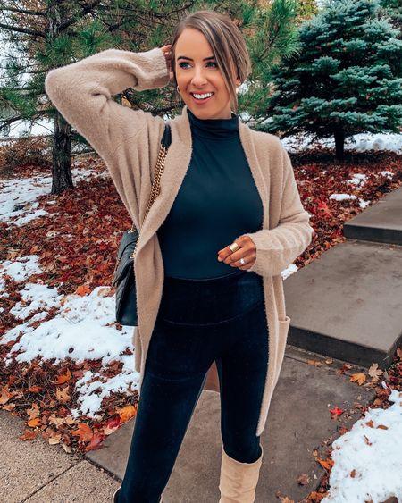 Spanx holiday outfit! Velvet leggings turtleneck open front amazon cardigan leather knee boot  #LTKSeasonal #LTKHoliday #LTKstyletip