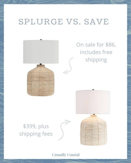 """While I love Pottery Barn's Cambria rattan lamp (which comes in a 20.5"""" and 26.5""""), it's undoubtedly pricey! This 26.5"""" dupe is a fantastic way to get the same look for a fraction of the price! - coastal decor, beach house decor, beach decor, beach style, coastal home, coastal home decor, coastal decorating, coastal interiors, coastal house decor, home accessories decor, coastal accessories, beach style, blue and white home, blue and white decor, neutral home decor, neutral home, natural home decor, lamps in living room, lamps bedroom, rattan lamps, coastal lamps, affordable lamps, cambria lamp dupe, pottery barn lamps, walmart home decor, walmart home, walmart decor, walmart lamps, neutral table lamps, coastal lighting, large lamps, oversized lamps, lamps for console table, lamps for entryway   #LTKsalealert #LTKunder100 #LTKhome"""
