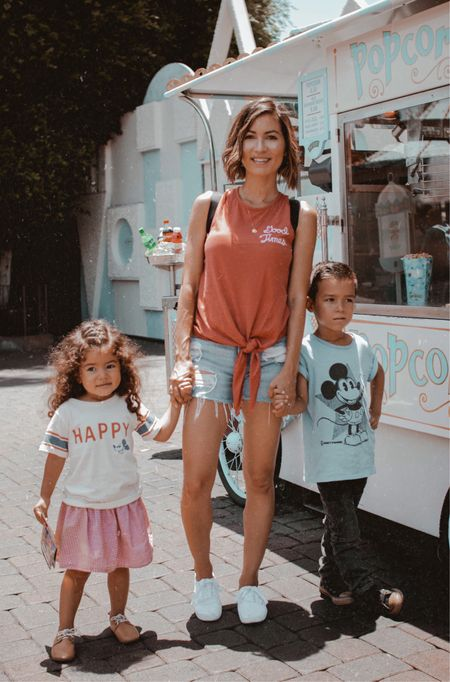 Seriously thought everyone was going to be in the same outfits as us but NOPE! Penny even matched her Dad in her $12 vintage Mickey tee. (See my stories for his tee) Screenshot this pic to get shoppable product details with the LIKEtoKNOW.it appor I can put together a stoppable blog post, your choice! #LTKfamily #LTKkids #LTKunder50 #LTKstyletip @liketoknow.it.family http://liketk.it/2wntJ #liketkit @liketoknow.it