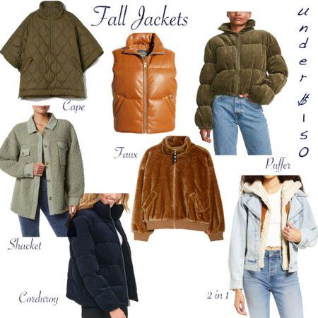 Fall Jackets Under $150  Puffer Jacket Shacket Faux Leather Faux Fur Denim Jacket Corduroy Jacket   #LTKunder100