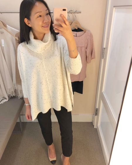"""How cute is this poncho sweater? I tried on size XS regular here and I ordered size XXS reular for a better fit. I didn't find it to be itchy. It's also available in petites but I like the regular missy length. For reference I'm 5' 2.5"""". LOVELOFT cardmembers, please check out my Sale Alerts page on www.whatjesswore.com for a 50% off one full-price item code and clarifictions. @liketoknow.it http://liketk.it/2xpZL #liketkit #LTKsalealert #LTKunder100 #LTKunder50"""