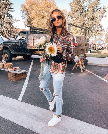 size xs in plaid flannel / size 25 in madewell jeans   #LTKSeasonal #LTKbacktoschool