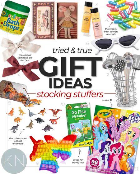 Tried & True stocking stuffer gift ideas for kids. Toddler gift kid gift Christmas gift bath time dinosaur toy toddler sunglasses mouse doll pop it   #LTKHoliday #LTKunder50 #LTKGiftGuide