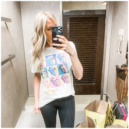 Cute Daydreamer brand Rolling Stones tee and the perf leggings. Comfy #nsale find.  http://liketk.it/3k7yD   @liketoknow.it   #liketkit