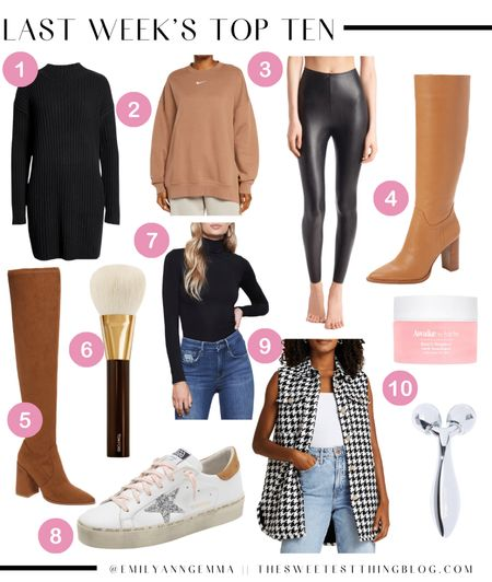 http://liketk.it/3p6lk Last Week's Top Ten, Bestsellers, Fall Outfits, Fall Boots, Fall Shoes, Best Sneakers, Golden Goose, Flattering Leggings, Tarte Neck Product, Best Makeup Brushes, Houndstooth Vest, Brown Boots, Best Boots Fall 2021, Emily Ann Gemma   #LTKstyletip