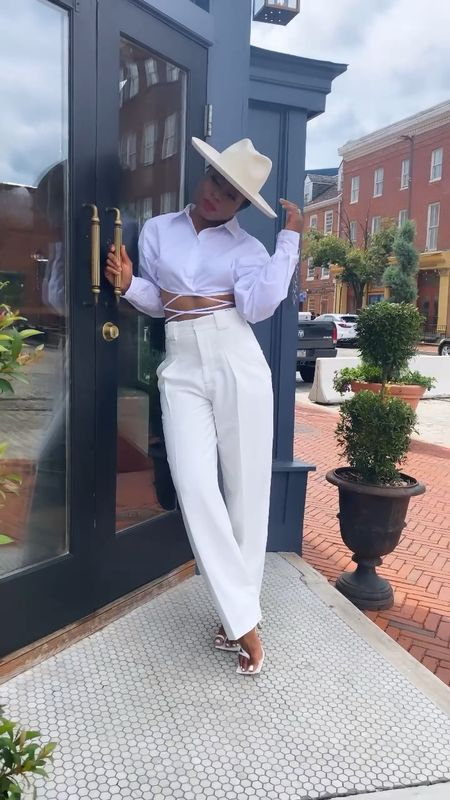 Summer white… outfit details on   date outfit  Wide leg pants Wool hat   #LTKunder100 #LTKSeasonal #LTKstyletip