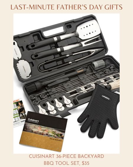 Pretty much every dad has a tool kit full of handy home improvement items. But what about a backyard BBQ toolset?  Cuisinart has a 36-piece backyard BBQ toolset that features items for all his grilling needs such as tongs, spatula, fork, bottle opener, grill scraper, grill temp reference magnet, cooking guide, basting brush with 3 interchangeable heads, 1 silicone grilling glove, 6 skewers, 10 burger marking flags, and 8 corn holders. Best of all, it all comes in a robust carry kit to store and organize all the tools.   The Cuisinart 36-piece backyard BBQ toolset will be handy on a warm summer day that's perfect for grilling. Your dad will never run out of grilling ideas.  You can find the Cuisinart 36-piece backyard BBQ toolset at Walmart for $35.  #LTKunder50 #LTKmens #LTKSeasonal