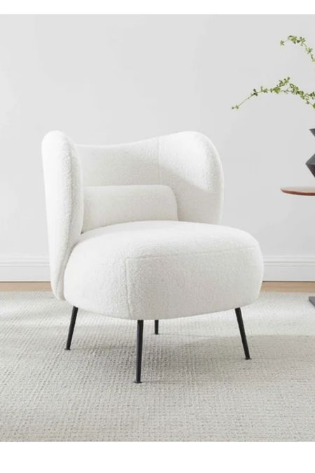 Boucle accent chairs. White accent chairs. Sherpa accent em hairs.   #LTKhome #LTKsalealert #LTKHoliday
