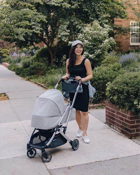 Amazon finds, Amazon fashion, casual maternity outfit, spring outfit, spring style, pregnancy style: light wash denim jacket (XS), embroidered mom baseball cap, mom hat, white leather sneakers (6.5 TTS), white Keds sneakers, UPPABaby Minu stroller, travel stroller, compact stroller, lightweight stroller, baby stroller. @liketoknow.it http://liketk.it/3g2He #liketkit #LTKunder50 #LTKfamily #LTKbaby