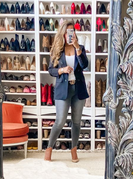 NSale favorites. Favorite jeans from the Anniversary Sale love this color and the shark bite hem. Blazer also on sale and a great staple piece to wear year round.   #LTKsalealert #LTKworkwear #LTKunder100